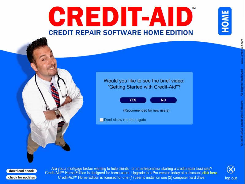 Click to view Credit-Aid HOME Credit Repair Software 7.0.1.B screenshot