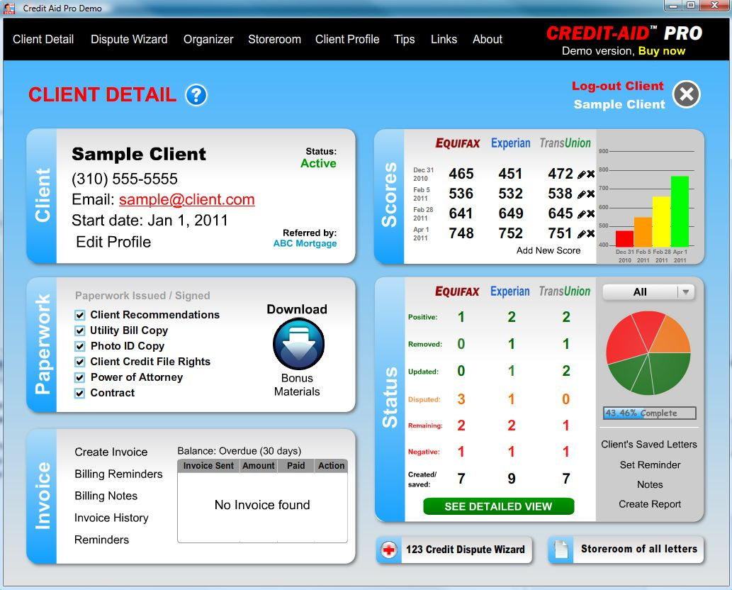 Click to view Credit-Aid Pro Business Suite 8.1.6 screenshot